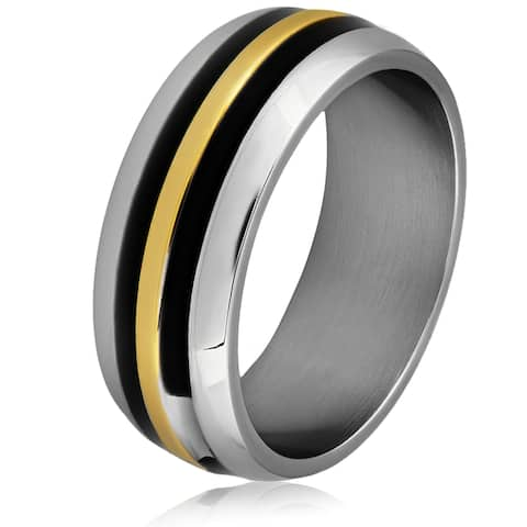 Men's Stainless Steel Tri-Color Domed Band Ring - White