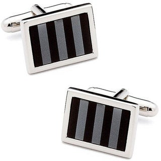 Silvertone Onyx and Hematite Striped Mosaic Cufflinks