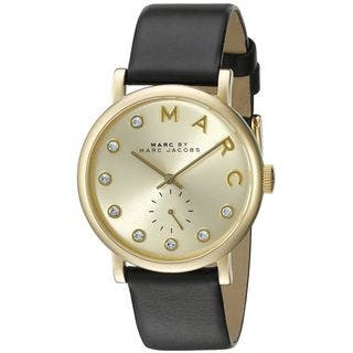 Marc Jacobs Women's MBM1399 'Baker' Crystal Black Leather Watch|https://ak1.ostkcdn.com/images/products/10547649/P17627481.jpg?impolicy=medium