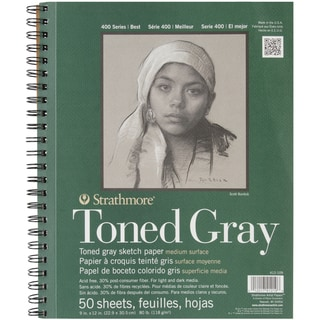 Strathmore Toned Sketch Spiral Paper Pad 9inx12inGray 50 Sheets