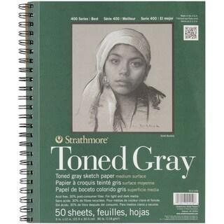 Strathmore Toned Sketch Spiral Paper Pad 9inx12inGray 50 Sheets