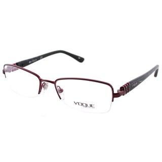 Vogue Eyewear Women's VO 3813B 812 Bordeaux Metal Semi-Rimless Eyeglasses