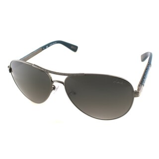 Lanvin Unisex SLN 037V 0K20 Hammered Gunmetal And Blue Leather Metal Aviator Sunglasses