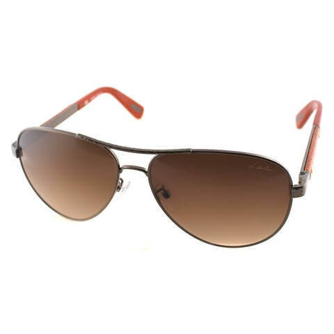 Lanvin Unisex SLN 037V 448X Hammered Bronze And Red Leather Metal Aviator Sunglasses