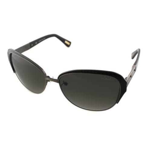 Lanvin Women's SLN 035N 0448 Copper And Black Leather Cat Eye Sunglasses