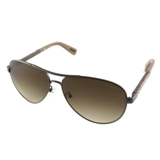 Lanvin Unisex SLN 037V K20X Hammered Gunmetal And Peach Leather Metal Aviator Sunglasses