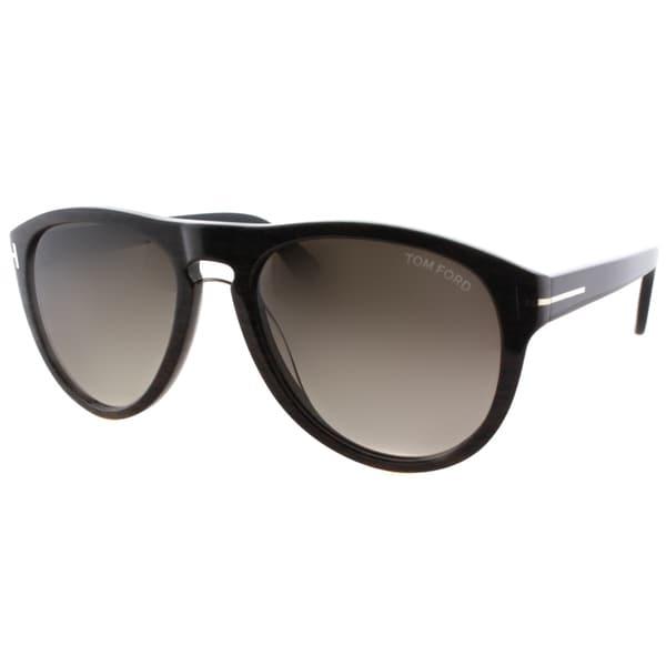 f79998a4f1 Tom Ford Men  x27 s Kurt TF 347 05K Brown Wood Plastic Aviator Sunglasses