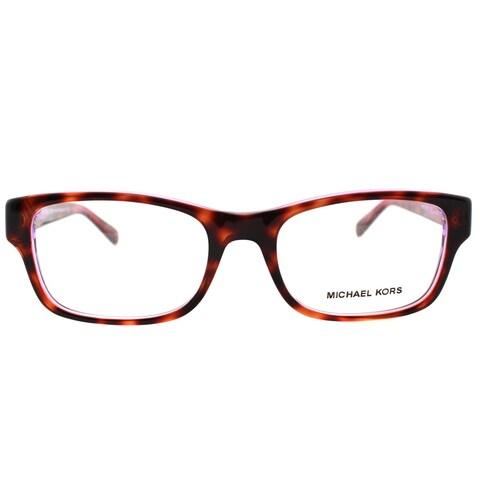 Michael Kors Ravenna Women's MK 8001 3003 Tortoise On Pink Purple Crystal Plastic Rectangle Eyeglasses