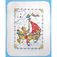 Sail Away Baby Quilt Stamped Cross Stitch Kit34inX43in
