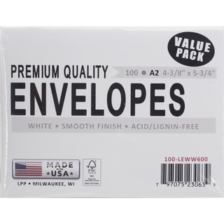 Leader A2 Envelopes (4.375inX5.75in) 100/PkgWhite