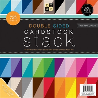 Cardstock Stack DoubleSided 12inX12in 58/PkgTextured Solids W/White Core