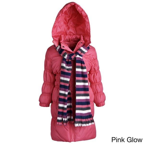 Sportoli Little Girls' Down Alternative Hooded Long Puffer Coat - Overstock  - 10548157