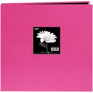 Pioneer Book Cloth Cover Post Bound Album 12inX12inBright Pink