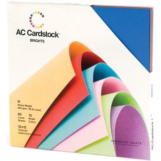 American Crafts Seasonal Cardstock Pack 12inX12in 60/PkgBrights