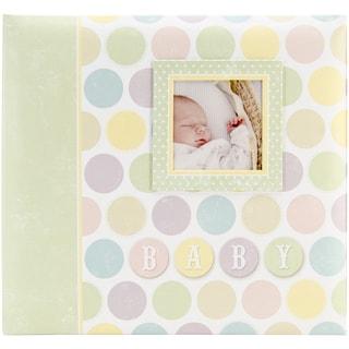 Baby Circles Post Bound Scrapbook W/Window 12inX12in
