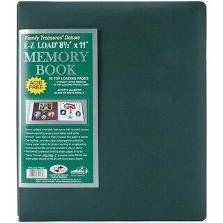 Family Treasures Deluxe Fabric Post Bound Album 8.5inX11inSherwood Green