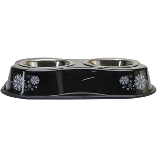 Bone Shaped Double Diner W/2 1pt Stainless Steel BowlsFlower Pattern Black