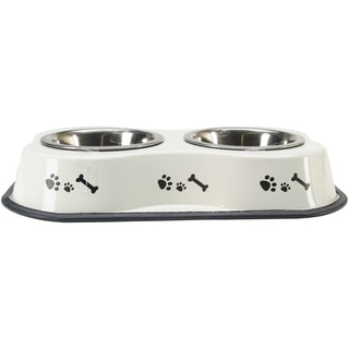 Bone Shaped Double Diner W/2 1pt Stainless Steel BowlsBone & Paws Print Ivory