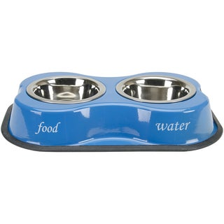 Bone Shaped Double Diner W/2 1pt Stainless Steel BowlsBone & Paws Print Blue