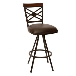 "Zoe 30"" Transitional Armless Barstool In Coffee Leatherette"