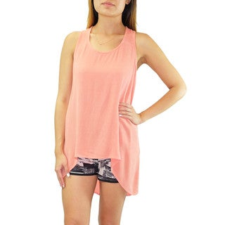 Relished Women's Paper Crane Coral High-low Hem Back Tie Top