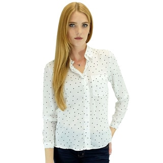 Relished Women's Relished Piper White Polka Dot Button-up