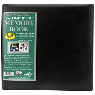 Family Treasures Deluxe Fabric Post Bound Album 12inX12inBlack
