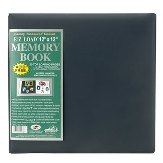 Family Treasures Deluxe Fabric Post Bound Album 12inX12inMidnight Blue