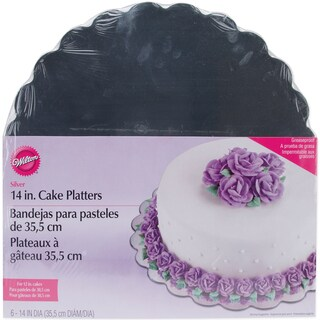 Cake Platters14in Silver Round 6/Pkg