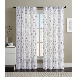 VCNY Dixon Embroidered Rod Pocket Sheer Panel Pair