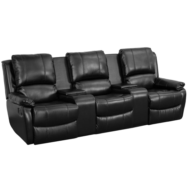Allure Series 3 Seat Reclining Pillow Back Black Leather
