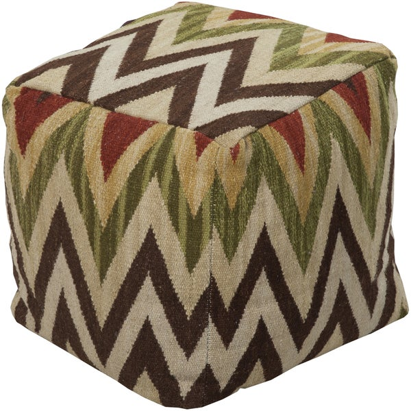 Chevron Colle Square Wool/Cotton 18-inch Pouf