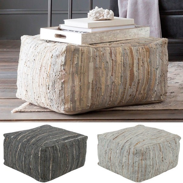 Striped Alia Square Leather 24-inch Pouf. Opens flyout.