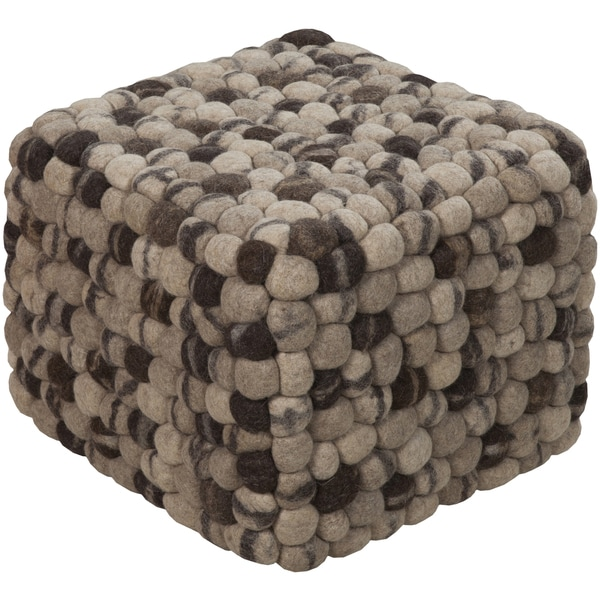 Checkered Aria Square Wool 18-inch Pouf