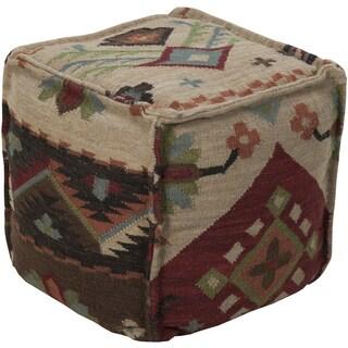 Chevron Akron Square Wool 18-inch Pouf