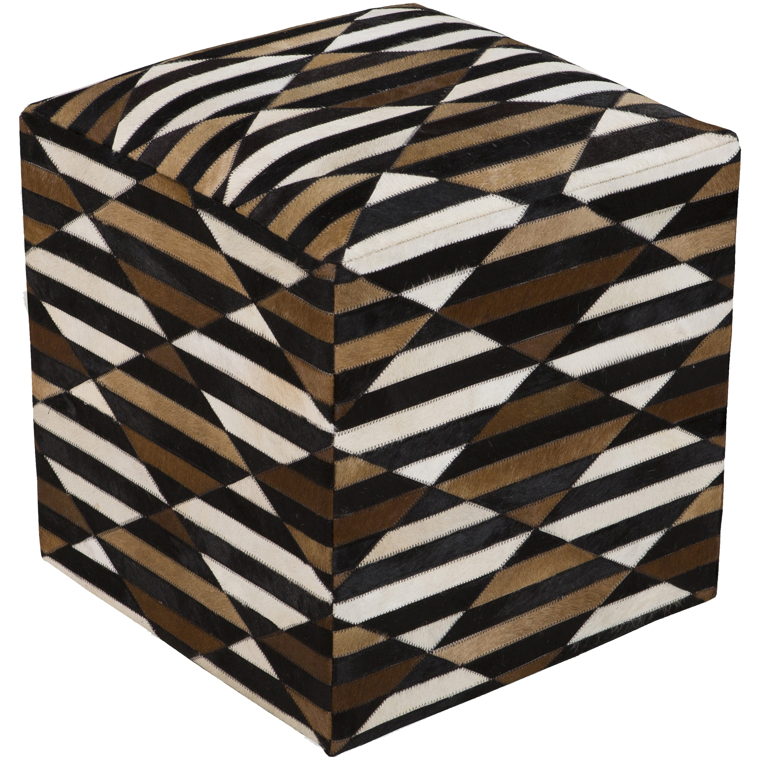 Checkered Arras Square Hair On Hide 18-inch Pouf (Charcoa...