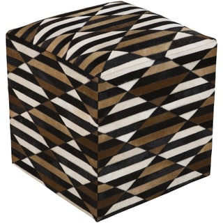Checkered Arras Square Hair On Hide 18-inch Pouf