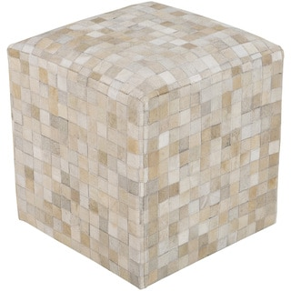 Checkered Asyut Square Hair On Hide 18-inch Pouf