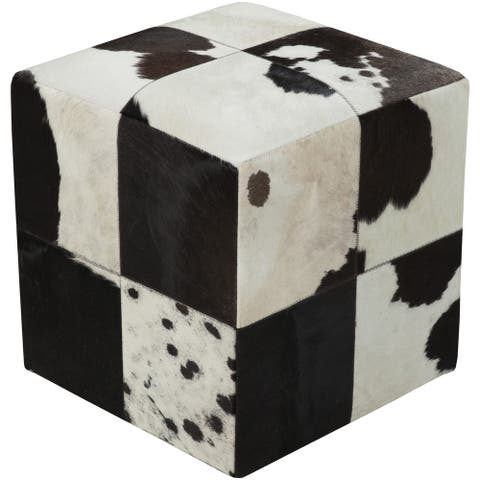 Checkered Creil Square Hair On Hide 18-inch Pouf