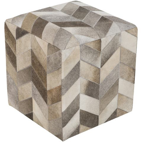 Checkered Daloa Square Hair-on-hide 18-inch Pouf