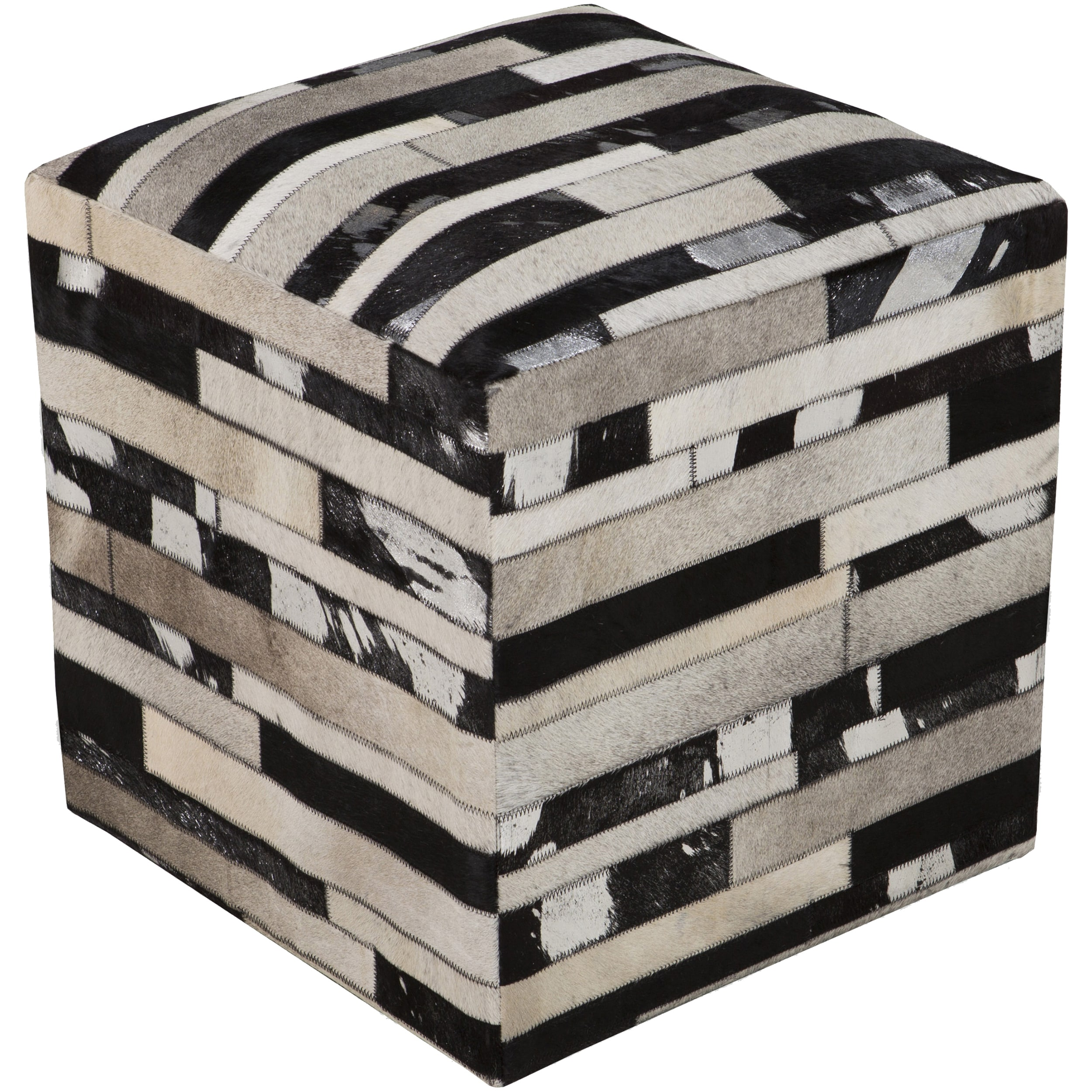 SURYA Checkered Neale Square Hair On Hide 18-inch Pouf (B...