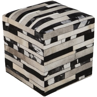 Checkered Neale Square Hair On Hide 18-inch Pouf
