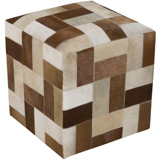 Checkered Nimes Square Hair On Hide 18-inch Pouf