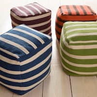Striped Suez Square Wool 24-inch Pouf