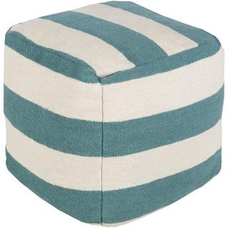 Striped Lyle Square Wool 24-inch Pouf