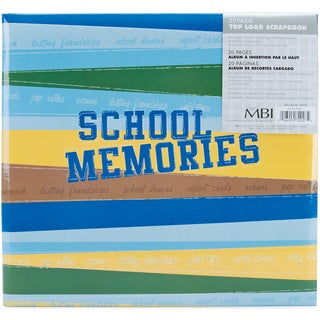School Memories Post Bound Album 12inX12inBlue & Green