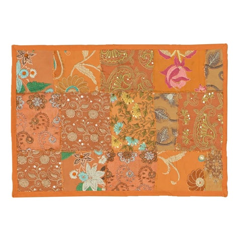Timbuktu Hand Crafted Patwork Design Orange Cotton and Poly Recyled Sari Placemats (Set of 4)