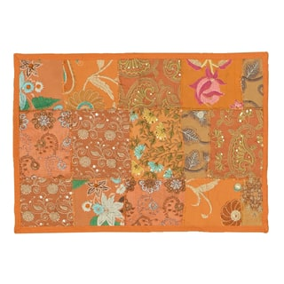 Timbuktu Hand Crafted Patwork Design Orange Cotton and Poly Recyled Sari Placemats (Set of 4)|https://ak1.ostkcdn.com/images/products/10548739/P17628409.jpg?impolicy=medium