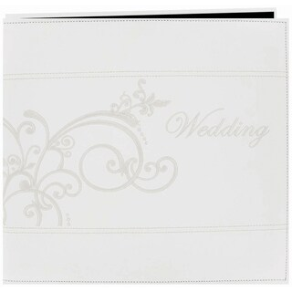 Embroidered Scroll Leatherette Post Bound Album 12inX12inWhite