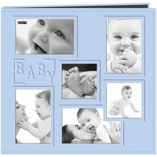 Sewn Embossed Collage Frame Post Bound Album 12inX12inBaby Blue